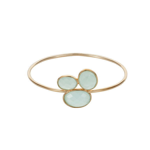 Nadira 18ct gold plated oval cut Aqua Chalcedony trilogy dress bangle