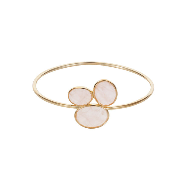 Nadira 18ct gold plated oval cut Rose Quartz trilogy cluster bangle