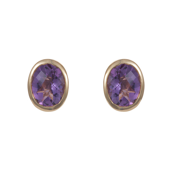 Nadira 18ct gold plated oval cut African Amethyst earrings