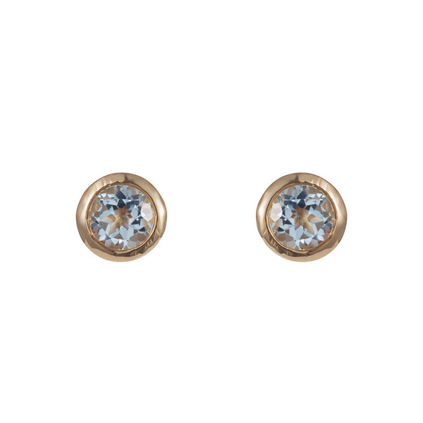Nadira 18ct gold plated round brilliant cut Blue Topaz earrings