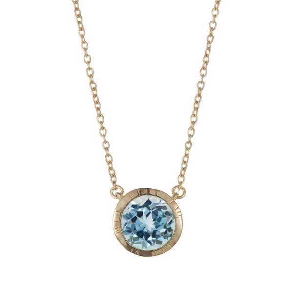 Nadira 18ct gold plated Blue Topaz solitaire pendant