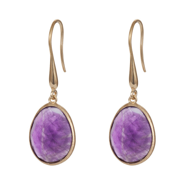 Nadira 18ct gold plated oval checkerboard cut African Amethyst drop earrings