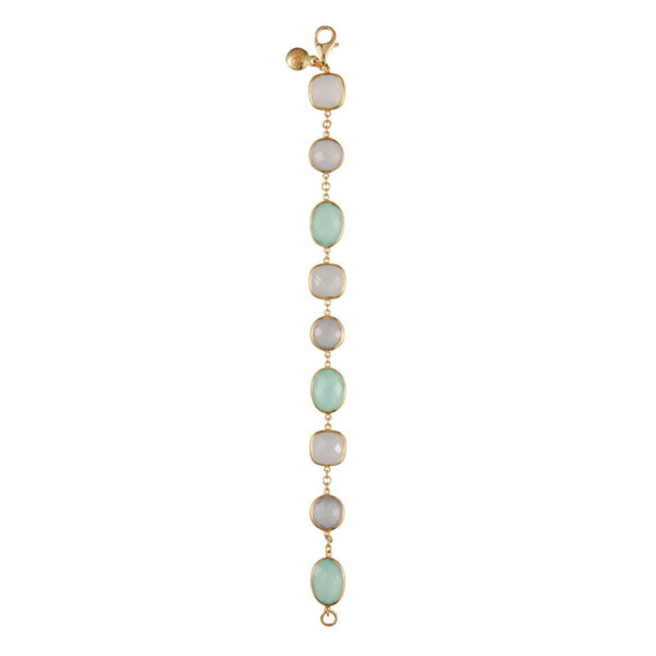 Nadira 18ct gold plated mixed cut Chalcedony bracelet