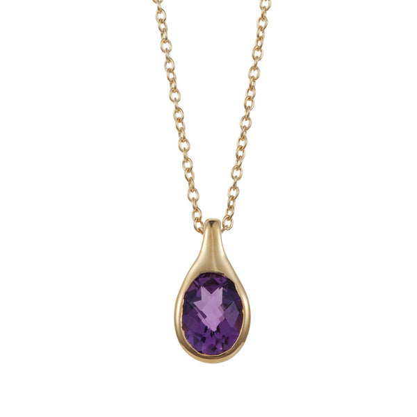 Nadira 18ct gold plated oval cut Amethyst teardrop pendant