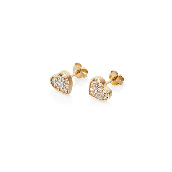 Pettia 18ct gold plated sterling silver heart charm earrings
