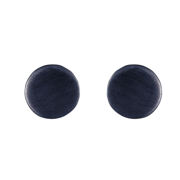 Pettia sterling silver black rhodium plated circle detail earrings