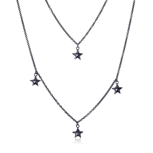 Pettia black rhodium plated sterling silver layered stars charm necklace