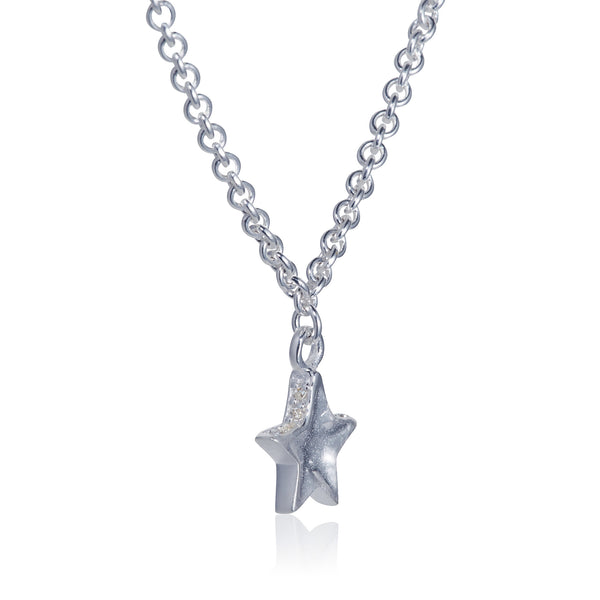 Pettia rhodium plated sterling silver layered stars charm necklace
