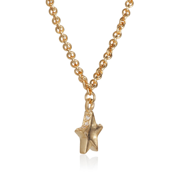Pettia 18ct gold plated sterling silver layered stars charm necklace