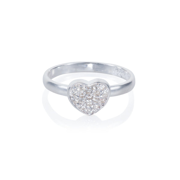 Pettia sterling silver pave detail heart charm ring