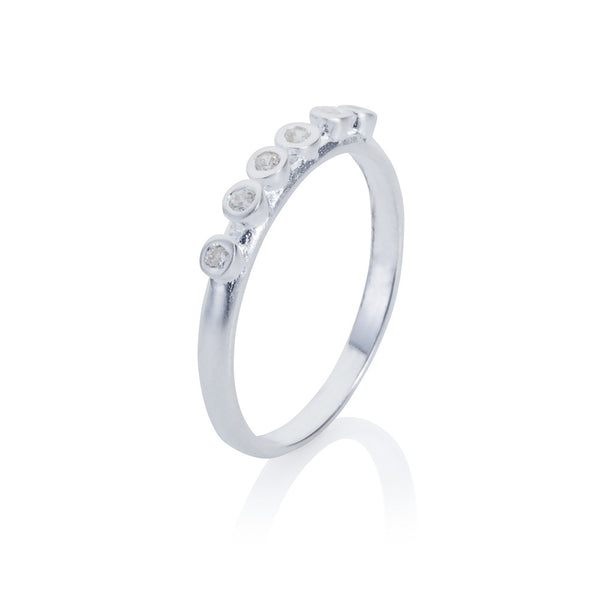 Pettia sterling silver six stone eternity charm ring