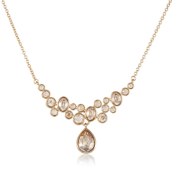 Titania 18ct gold plated SWAROVSKI Crystal cascade necklace with pear cut drop