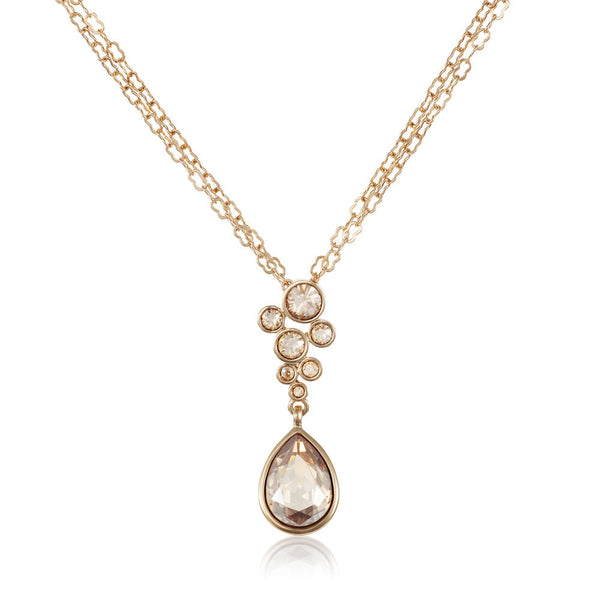 Titania 18ct gold plated SWAROVSKI Crystal cascade pendant with pear cut drop