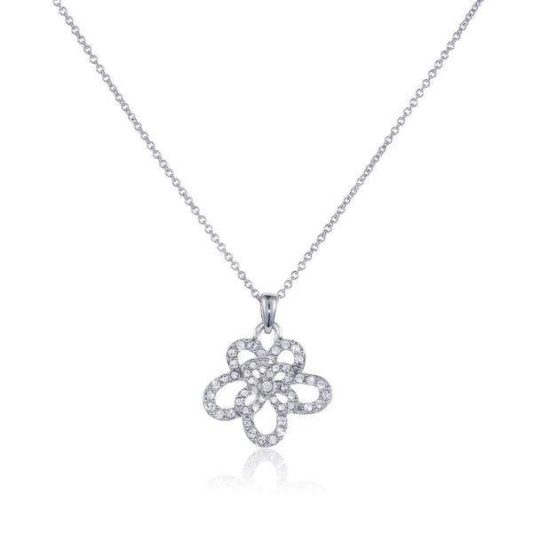 Titania Rhodium Plated SWAROVSKI Crystal Orchid Necklace
