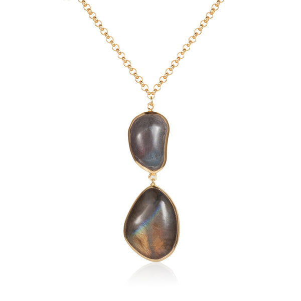 Nadira 18ct gold plated Labradorite seamless double drop pendant