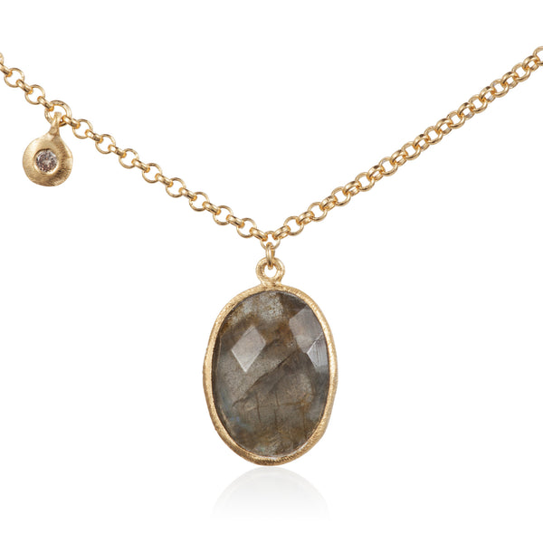 Nadira 18ct gold plated Labradorite and White Topaz charm pendant