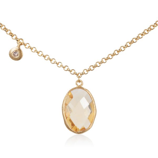Nadira 18ct gold plated Citrine and White Topaz charm pendant
