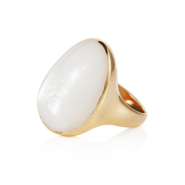 Nadira 18ct gold plated Mother of Pearl freeform seamless ring