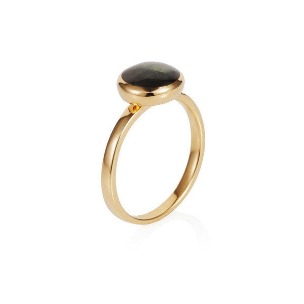 Nadira 18ct gold plated Labradorite round seamless ring