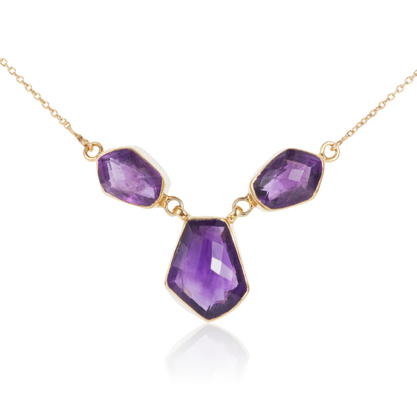 Nadira 18ct gold plated Amethyst freeform cut signature necklace