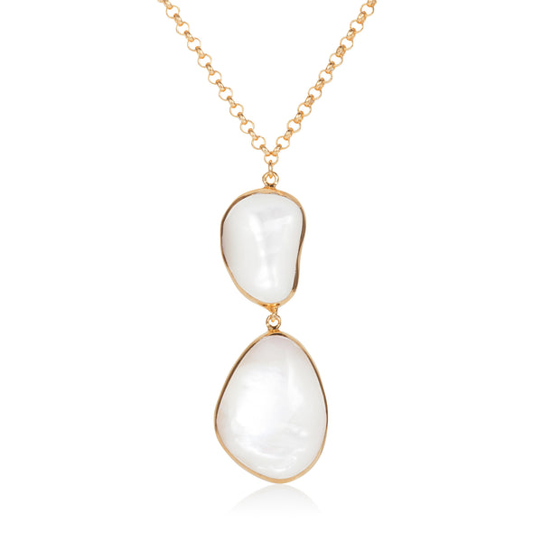 Nadira 18ct gold plated Mother of Pearl seamless double drop pendant