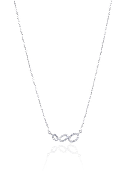 Titania Rhodium Plated SWAROVSKI Crystal Trilogy of Ovals Necklace