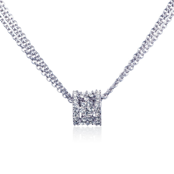 Titania Rhodium Plated SWAROVSKI Crystal Filagree Barrel Necklace