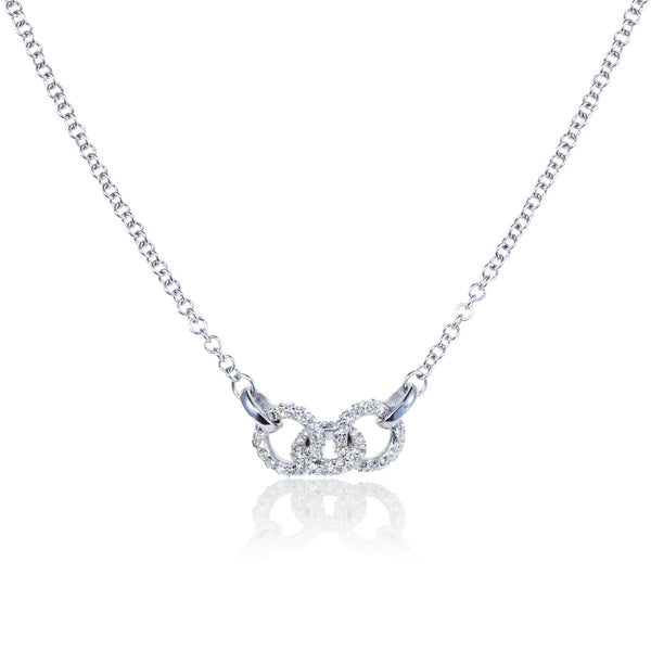 Titania rhodium plated trilogy link necklace set with Swarovski crystals
