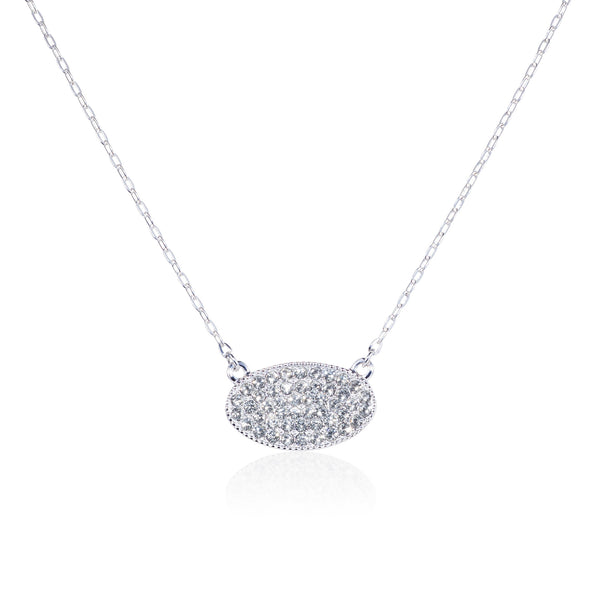 Titania Rhodium Plated SWAROVSKI Crystal Oval Tag Necklace
