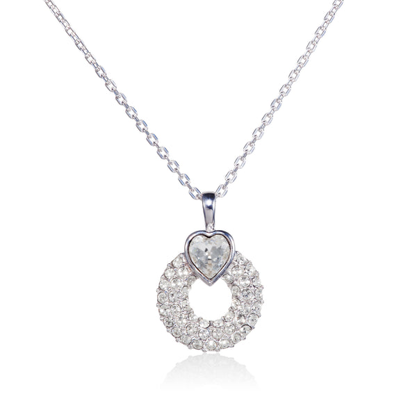 Titania Rhodium Plated SWAROVSKI Crystal Open Heart Necklace