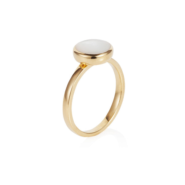 Nadira 18ct gold plated Mother of Pearl round seamless ring