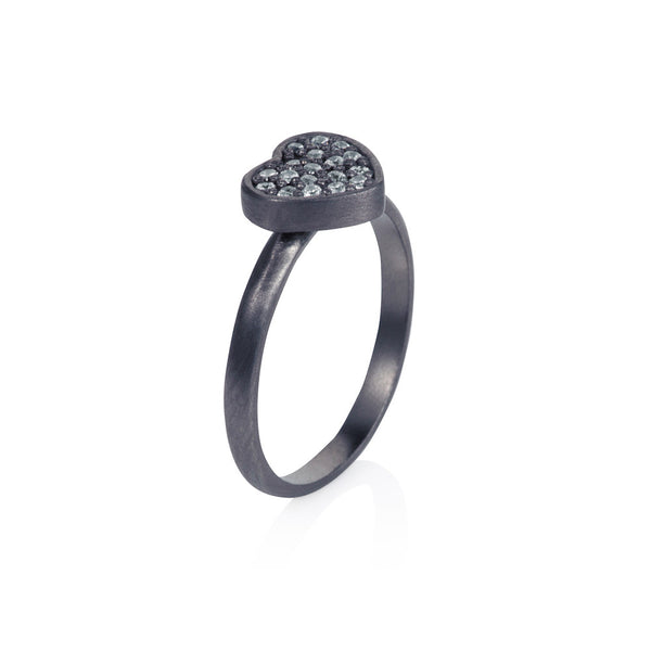 Pettia sterling silver black rhodium plated heart charm ring