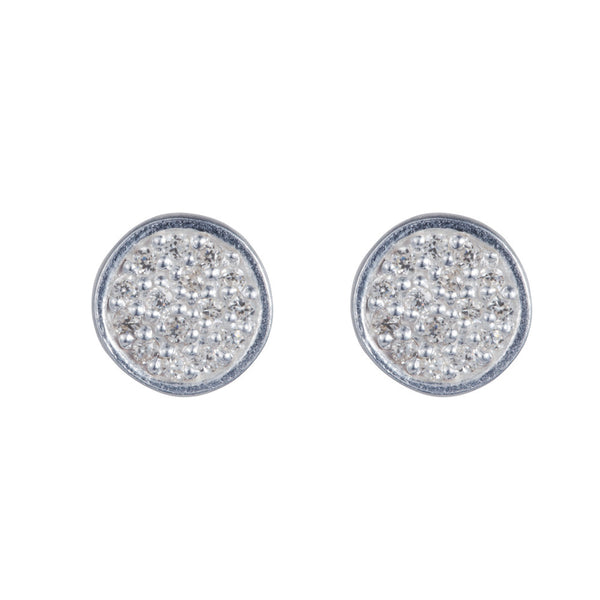 Pettia sterling silver pave set circle charm earrings