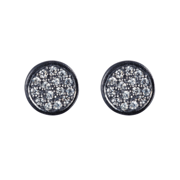 Pettia sterling silver black rhodium plated circle charm earrings