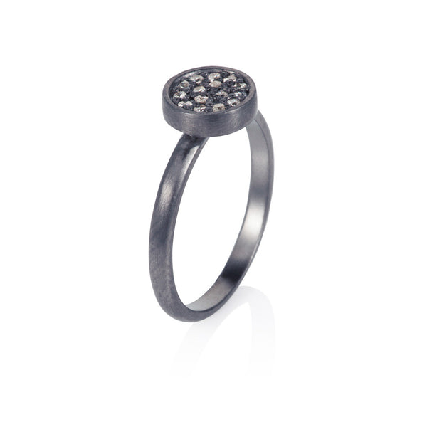 Pettia sterling silver black rhodium plated circle charm ring