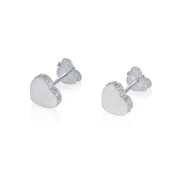 Pettia sterling silver heart pave accent charm earrings