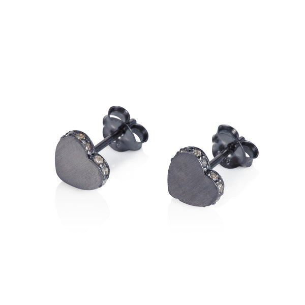 Pettia sterling silver black rhodium plated heart accent earrings