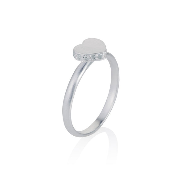 Pettia sterling silver heart pave accent charm ring