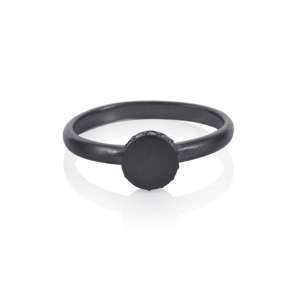 Pettia sterling silver black rhodium plated circle accent ring