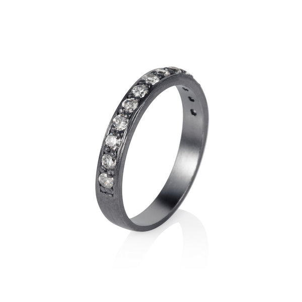 Pettia sterling silver black rhodium plated eternity stacker ring