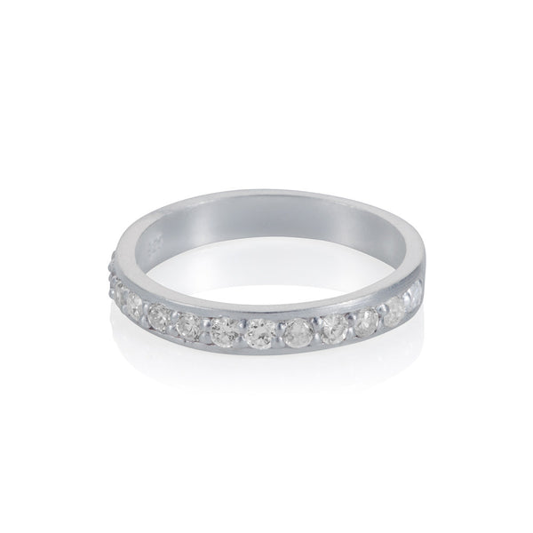 Pettia sterling silver pave set classic eternity stacker ring