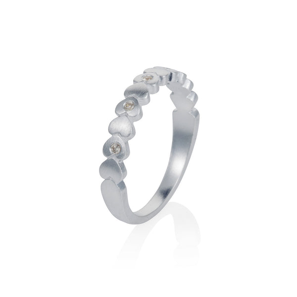 Pettia sterling silver band of hearts eternity charm ring