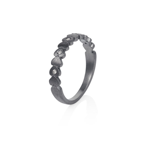 Pettia sterling silver black rhodium plated band of hearts charm ring
