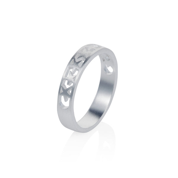 Pettia sterling silver band of stars eternity charm ring