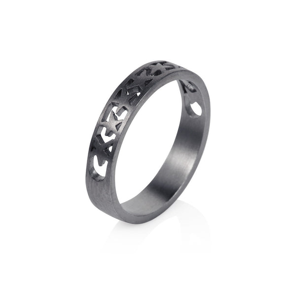 Pettia sterling silver black rhodium plated bamd of stars charm ring