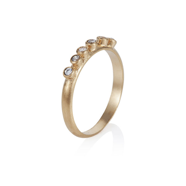 Pettia 18ct gold plated sterling silver plated six stone charm ring