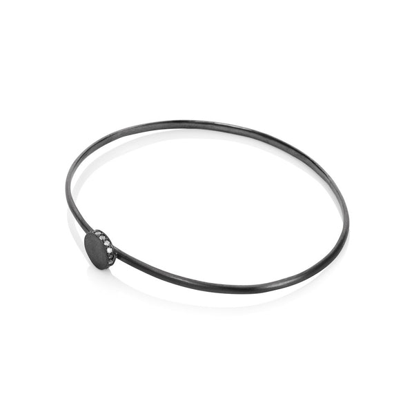 Pettia sterling silver black rhodium plated circle accent charm bangle