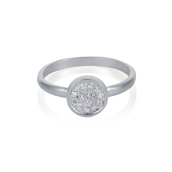Pettia sterling silver pave detail circle charm ring