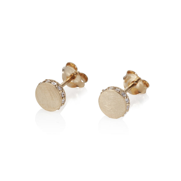 Pettia 18ct gold plated sterling silver circle detail earrings