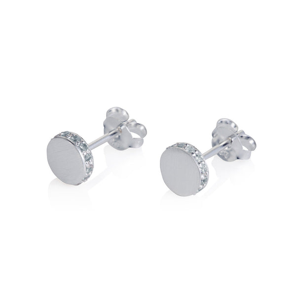 Pettia sterling silver circle pave side detail earrings
